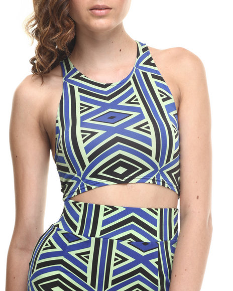 Baby Phat - Women Multi Bungie Back Tribal Print Cropped Top