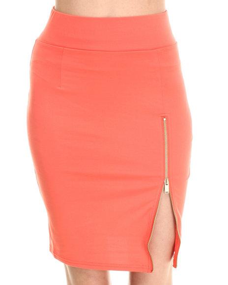 Baby Phat - Women Coral Zip Front Pencil Midi Skirt