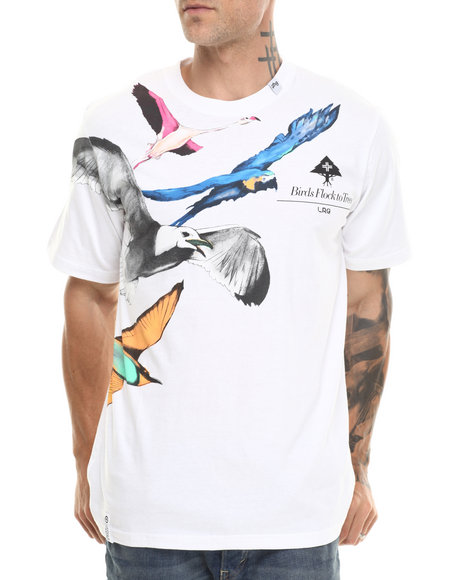 Lrg - Men White Birds Flock To Trees S/S Tee