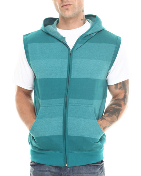 Basic Essentials - Men Green Shade - Striped Sleeveless Hoodie