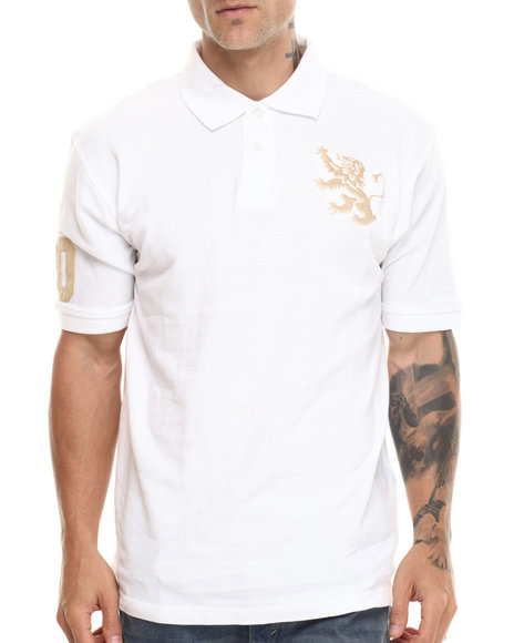 Buyers Picks - Men White Lion Crest S/S Polo