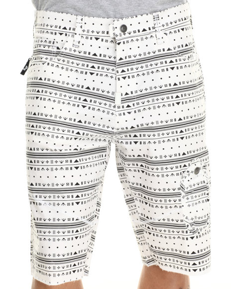 LRG - Men Off White Glyphic True - Straight Walk Shorts