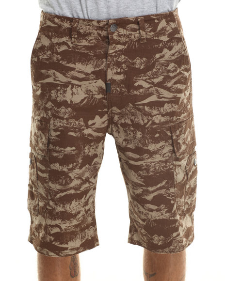 Lrg - Men Brown,Camo Sunrise To Sunset Classic Cargo Shorts