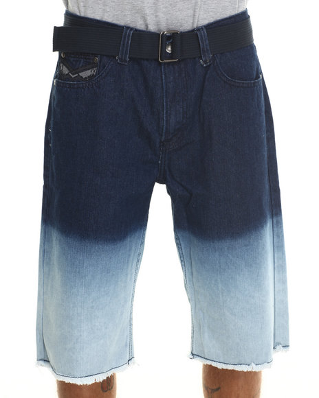 Basic Essentials - Men Medium Wash Dip - Dye Denim Shorts