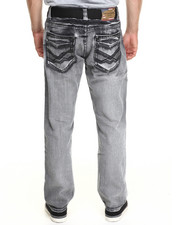 Basic Essentials - Chevron Washed Belted Denim Jeans