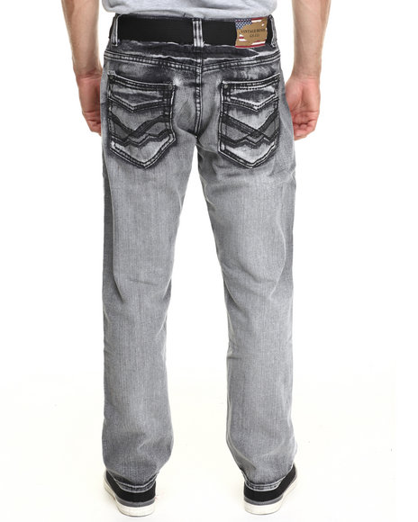Basic Essentials - Men Black Chevron Washed Belted Denim Jeans