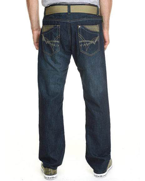 Basic Essentials - Men Dark Wash Slash - Stitch Belted Denim Jeans