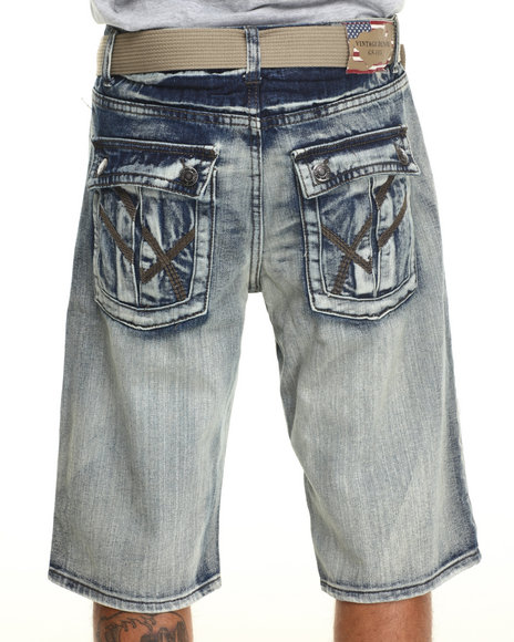 Basic Essentials - Men Light Wash Flag Destructed Washed Denim Shorts