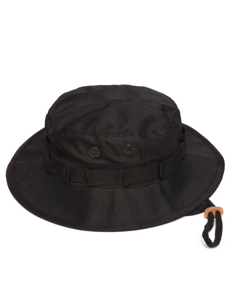 Men Black Solid Bucket Hat