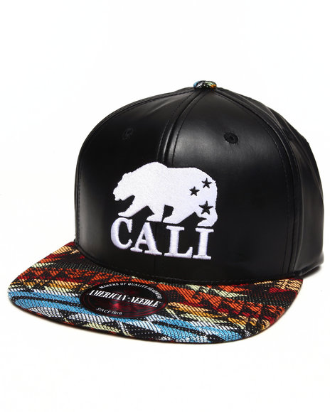 American Needle Men Cali Bear Sleek Strapback Hat Black