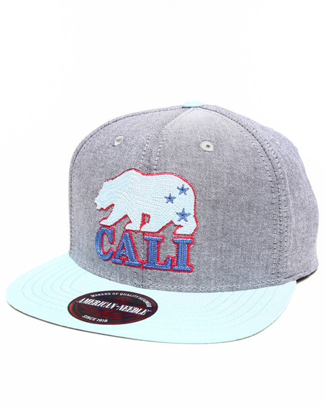 American Needle Men California Bear South Beach Strapback Hat Grey