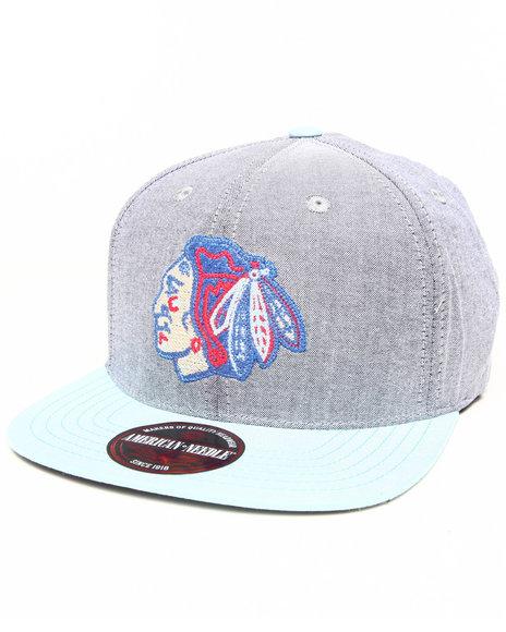 American Needle Blackhawks South Beach Strapback Hat Grey