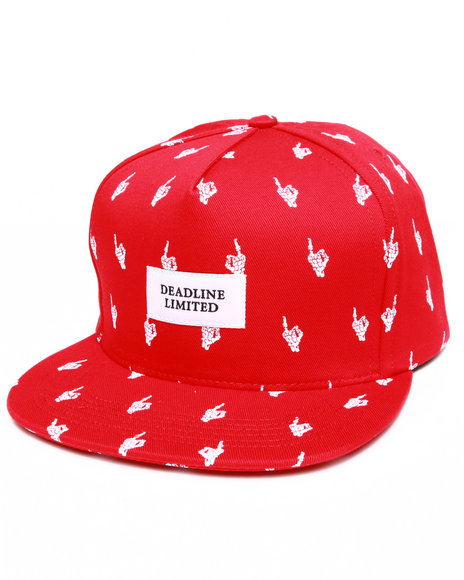 Deadline Men M F Skeleton Snapback Cap Red