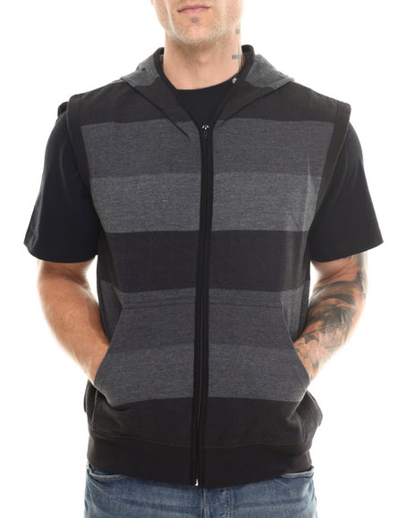 Basic Essentials - Men Black Shade - Striped Sleeveless Hoodie