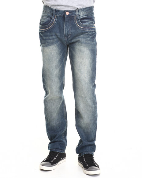 Basic Essentials - Men Medium Wash Studded Flap - Pocket Denim Jeans