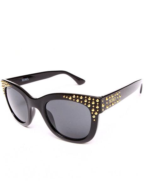 Xoxo Golden Eye Metal Trim Sunglasses Black