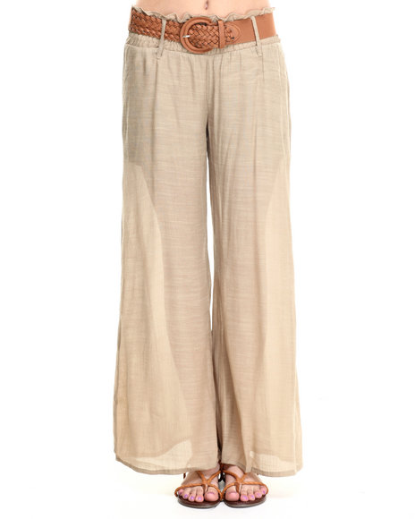 Ali & Kris - Women Khaki Belted Soft Wideleg Pant - $13.99