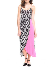 Women - Pink Crush On you Strap Dress w/print color block