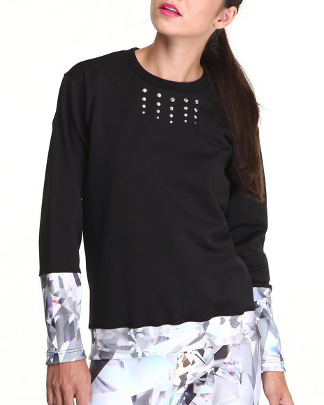 Djp Outlet - Women Black Keenkeee 20 Crystal Sweatshirt W/ Contrast Cuff Detail