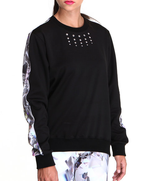 Djp Outlet - Women Black Keenkeee 20 Crystal Sweatshirt W/ Crystal Print Back Panel