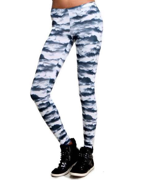 Djp Outlet - Women Black See You Monday Cloud Print Leggings