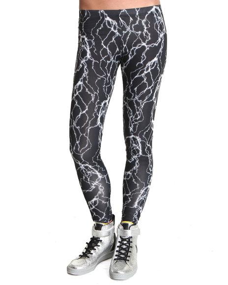 Djp Outlet - Women Black See You Monday Lightning Print Leggings