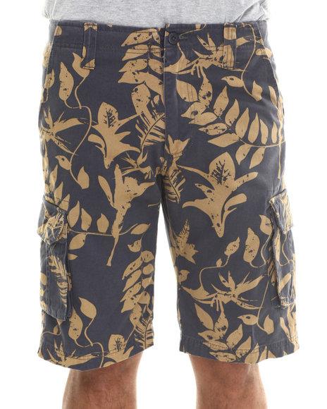 Waimea - Men Dark Blue Leafy Cargo Shorts