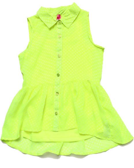 La Galleria - Girls Green Polka Dots Top (7-16)