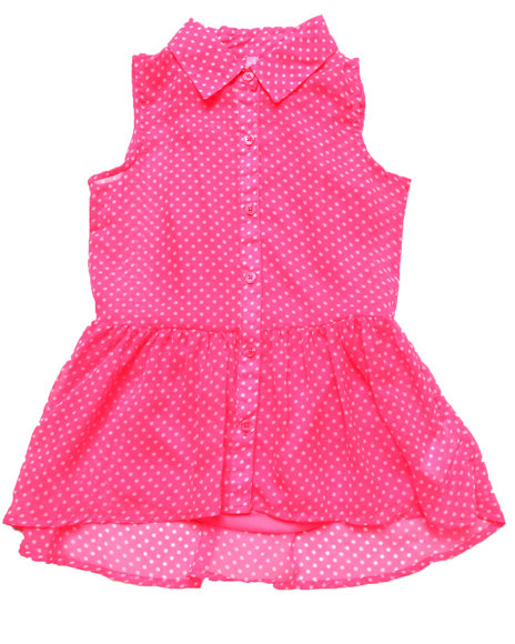 La Galleria - Girls Pink Polka Dots Top (7-16)