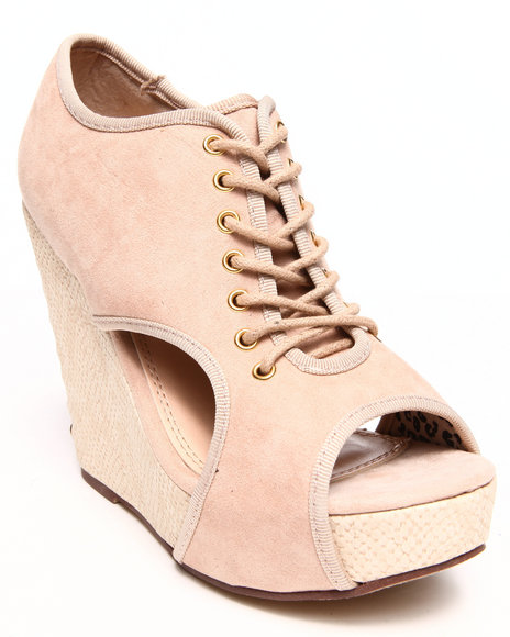 Fashion Lab - Women Beige Lace Up Cutout Wedge - $23.99