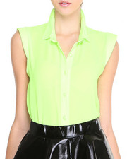 Fashion Tops - Neon Cap Sleeve Woven