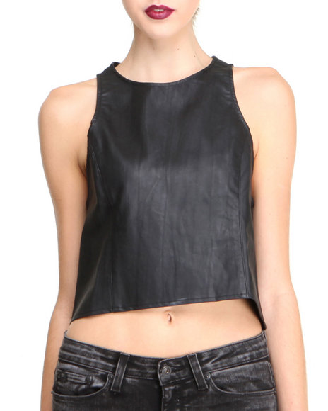 Glamorous - Women Black Faux Leather Crop Top