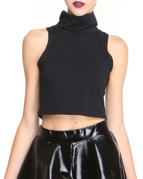 Glamorous - Women Black Mock Neck Crop Top