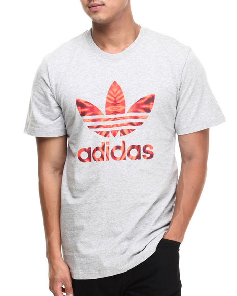 Adidas - Men Grey,Red Trefoil Fill Tee