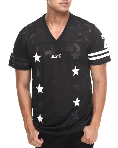 Asphalt Yacht Club - Men Black All Stars First Draft Football Jersey Tee