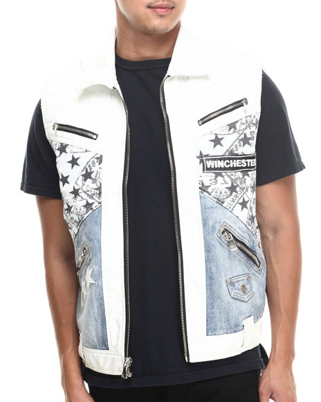 Winchester - Men White Winchester Texas White Faux Leather/Denim Vest