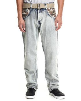 Basic Essentials - Camo Coverage Belted Denim Jeans