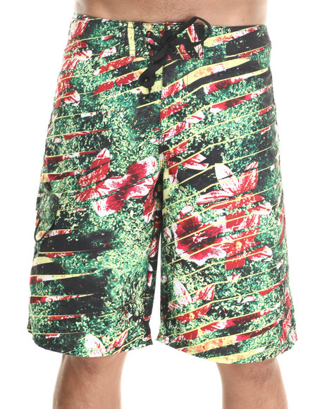 Waimea Green Shredded Flowers Boardshorts