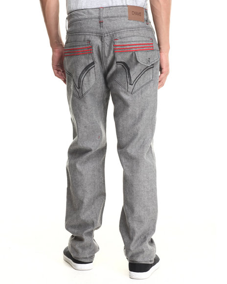 Basic Essentials - Men Grey Vector Multi - Back - Pocket Raw Denim Jeans