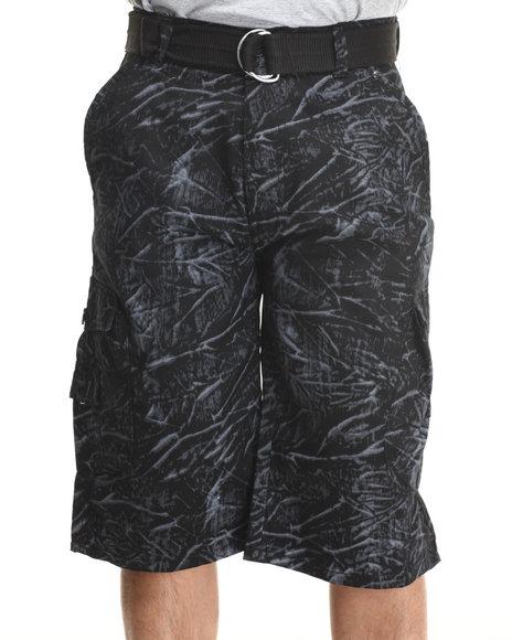 Basic Essentials - Men Black Tie Dye Belted Cargo Shorts - $13.99