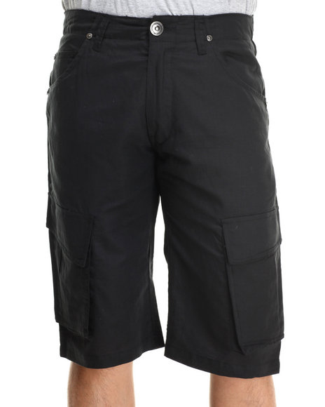 Well Established - Men Black Well Established Linen Cargo Shorts