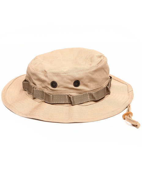 Men Khaki Solid Rip Stop Bucket Hat