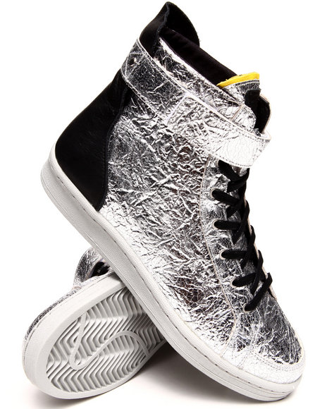 Adidas - Women Silver Adidas Slvr Metallic Cupsole Hightop