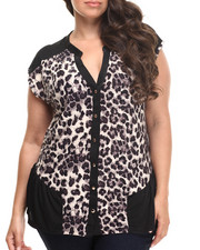 Fashion Lab - Contrast Cap Sleeve Animal Print Top  (plus)