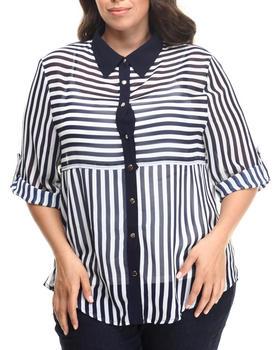Fashion Lab - Stripe 3/4 Sleeve Button down (plus)