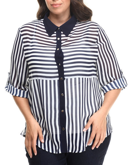 Fashion Lab - Women Navy Stripe 3/4 Sleeve Button Down (Plus) - $12.99