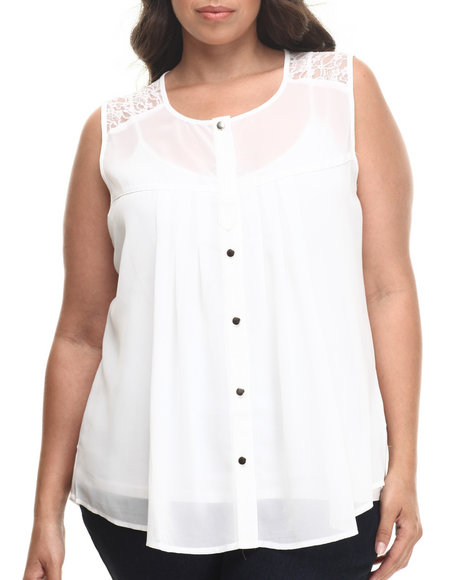Fashion Lab - Women White Nikki Shortslevve Top (Plus