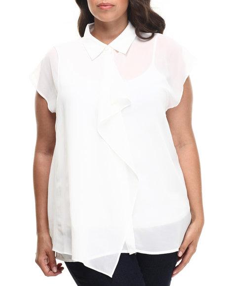 Fashion Lab - Women White Maureen Short Sleeve Top (Plus)