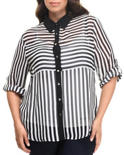 Fashion Lab - Stripe 3/4 Sleeve Button down (plus)