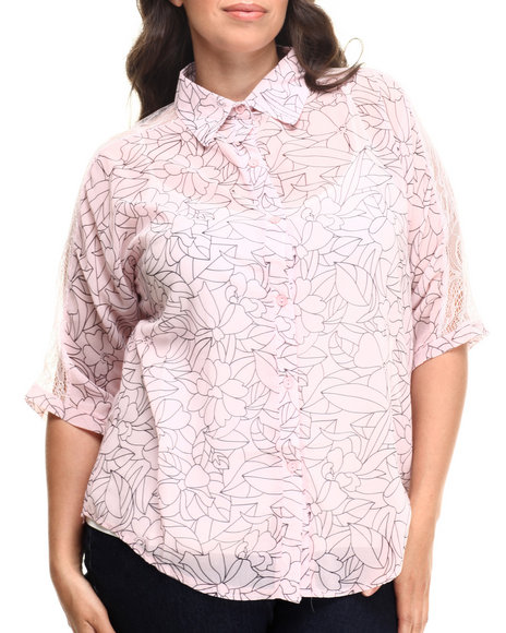 Fashion Lab - Abstract Geo Floral Sheer Shoulder Top  (plus)